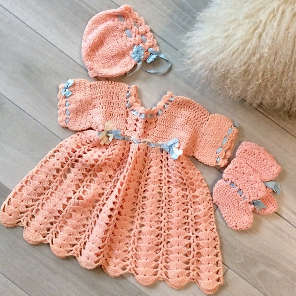 Dresses Hpvintage Crocheted Baby Dress Booties Hat Poshmark